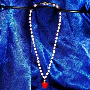 Red Swarovski Crystal/Pearl Heart Necklace